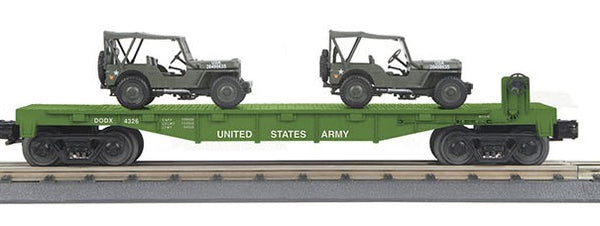 MTH 30-70109 U.S. Army Flat car with 2 Jeeps