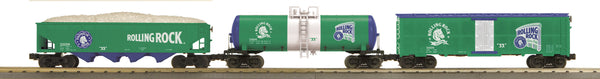 MTH 30-7043 Rolling Rock Beer 3-Car Freight Set Tank Car, Reefer Car and 4-Bay Hopper Car