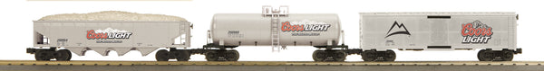 MTH 30-7044 Coors Light 3-Car Freight Set features Modern Reefer, Modern Tank Car and 4-Bay Hopper Car