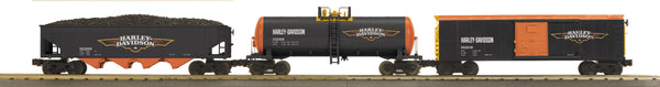 MTH 30-7045 Harley-Davidson Freight Set features Modern Reefer, Modern Tank Car and 4-Bay Hopper Car