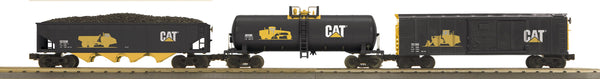 MTH 30-7046 Caterpillar Freight Car Set features Modern Reefer, Modern Tank Car and 4-Bay Hopper Car