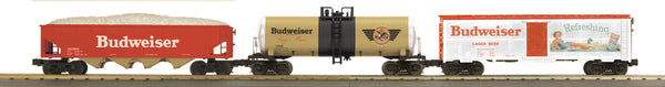 MTH 30-7047 Budweiser 3 Car Freight Set features Modern Reefer, Modern Tank Car and 4-Bay Hopper Car
