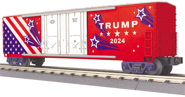 MTH 30-71049 Donald J. Trump (2024) 50' Double Door Plugged Boxcar - Car No. 2024 PREORDER Limited