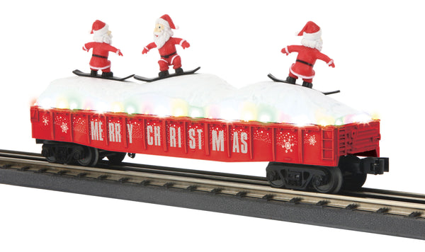 MTH 30-72194 Gondola Car w/LED Christmas Lights & Skiing Santas - Christmas (Red) No. Merry Christmas