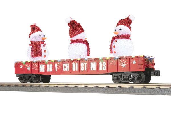 MTH 30-72210 Gondola Car w/LED Christmas Lights & Lighted Snowmen - Christmas (Red)