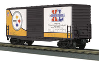 MTH 30-4171-1   30-2706-3   30-74362   30-74560 Pittsburgh Steelers Set, Dummy Unit and 2 extra super bowl cars