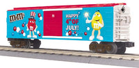 MTH 30-74540 M&M's Fourth of July Boxcar with blinking LED lights