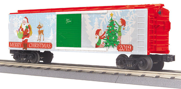MTH 30-74964 Christmas 2019 Boxcar Santa Elves and Tree