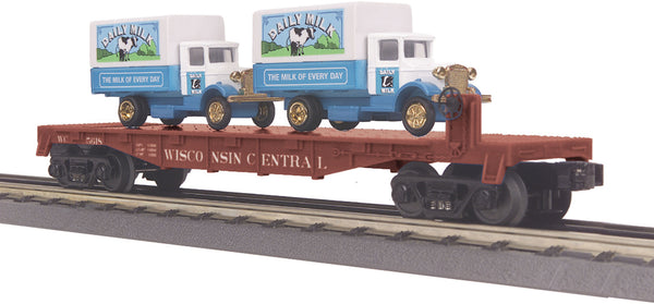 MTH 30-76116 Wisconsin Central flat Car w/(2) 1934 Dairy Trucks # 35618
