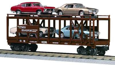 MTH 30-7638 MTH Auto Carrier with Ertl 1967 Pontiac Firebird and 1970 Chevy Nova Used