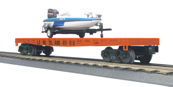 MTH 30-76538 Long Island 50' Flat Car w/(1) Fishing Boat - Car No. 491914 Display