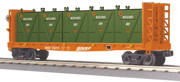 MTH 30-76604 BNSF Flat Car - w/Bulkheads & LCL Containers - Car No. 552215