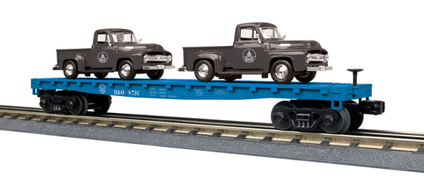 MTH 30-76668 Baltimore & Ohio B&O Flat Car w/(2) '53 Ford Pickup Trucks Black Pickup Trucks
