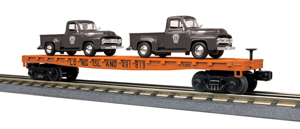 MTH 30-76671 Long Island Flat Car w/(2) '53 Ford Black Pickup Trucks
