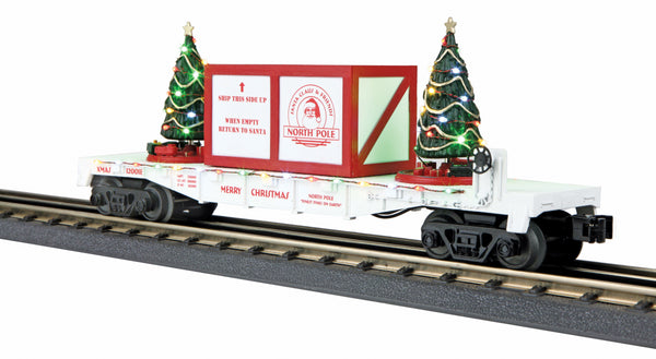 MTH 30-76734 North Pole Flat Car w/Lighted Christmas Trees - (Red Crate) White Car No. 120018
