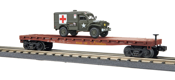 MTH 30-76742 Union Pacific (UP Spirit) Flat Car w/(1) Dodge WC54 Ambulance - Car No. 58418