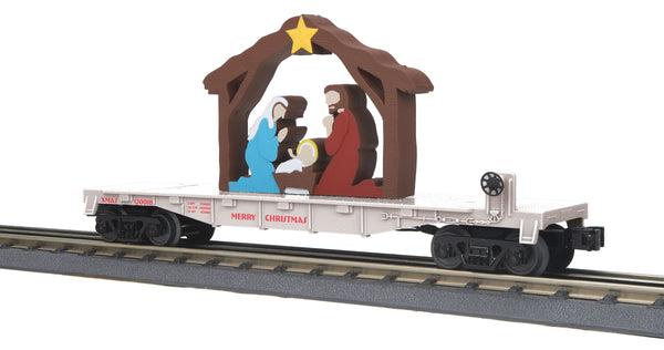 MTH 30-76769 Christmas (White) Flat Car w/Lighted Nativity Scene