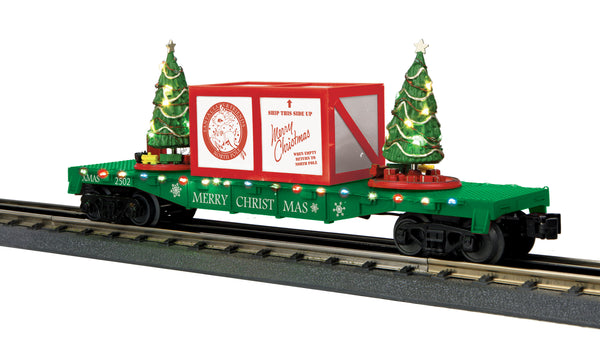 MTH 30-76773 Flat Car w/Lighted Christmas Trees - Christmas (Green) Car No. 1202