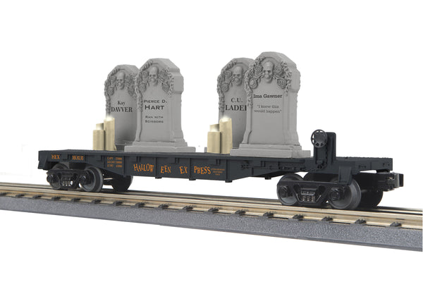 MTH 30-76784 Halloween (Black) Flat Car w/Headstones & Flickering Lighted Candles