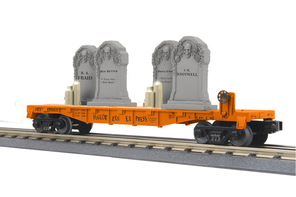 MTH 30-76785 Halloween (Orange) Flat Car w/Headstones & Flickering Lighted Candles