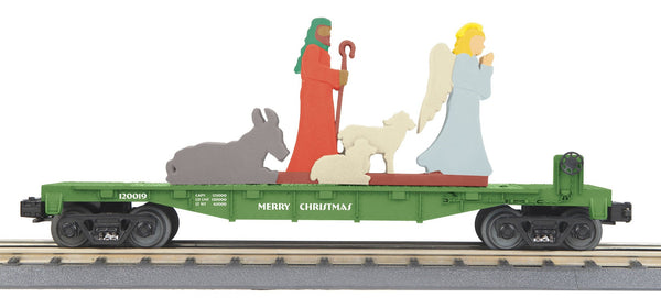 MTH 30-76786 Christmas (Green) Flat Car w/Lighted Shepherd and Angel Scene
