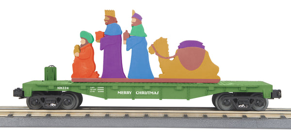MTH 30-76788 Christmas (Green) Flat Car w/Lighted Wise Men Scene