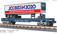 MTH 30-76840 Joe Biden 2020 Our Best Days Still Lie Ahead Flat Car w/40' Trailer PREORDER