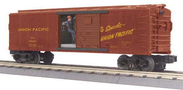 MTH 30-79187 Union Pacific UP Operating Box Car w/Signal Man No. 190167