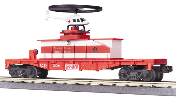 MTH 30-7942 Red Cross Flat car with Operating Helicopter