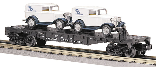 MTH 30-8304 Chesapeake & Ohio Die-Cast Flatcar with 2 Ertl '32 Panel Vans