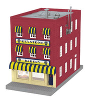 MTH 30-90282 Keystone Bakery 3-Story City Building w/Fire Escape & Blinking Sign
