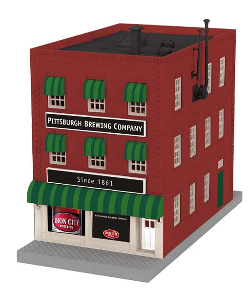 MTH 30-90358 Pittsburgh Brewing Iron City Pub 3-Story City Building w/Fire Escape & Blinking Sign