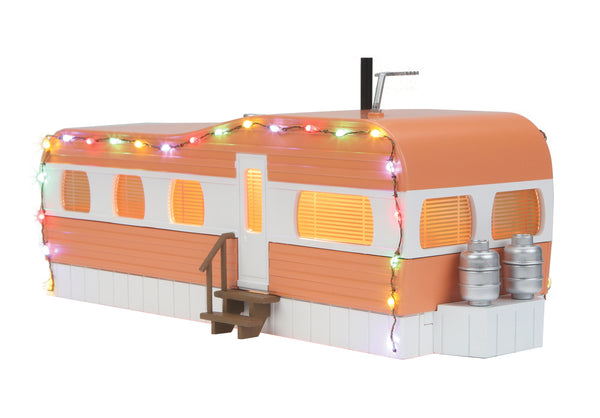 MTH 30-90579 Salmon & White Stainless Mobile Home with Operating Christmas Light