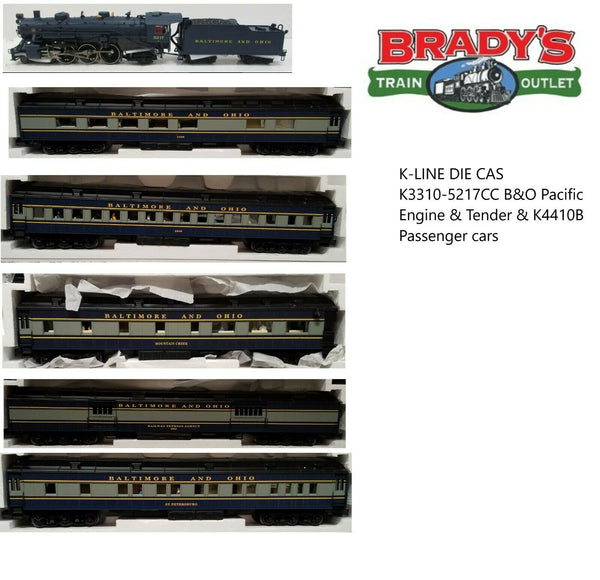 K-LINE Baltimore & Ohio B&O Die Cas K3310-5217CC B&O Pacific Engine & Tender & K4410B Passenger cars