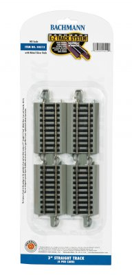 "Bachmann 44512 E-Z Track System HO Scale 3"" Straight Track 4 per pack"