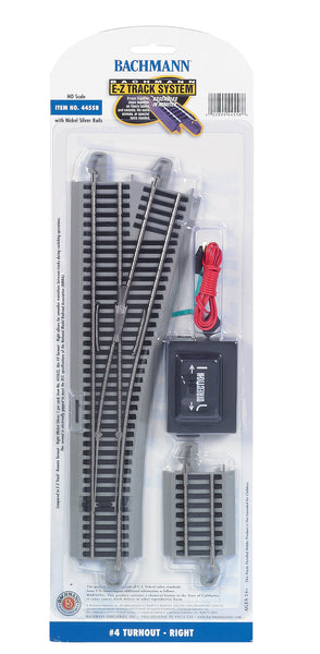 Bachmann 44558 E-Z Track System HO Scale #4 Turnout - Right