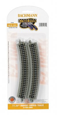 "Bachmann 44801 E-Z Track System N Scale 11.25"" Radius Curved (6 per pack)"