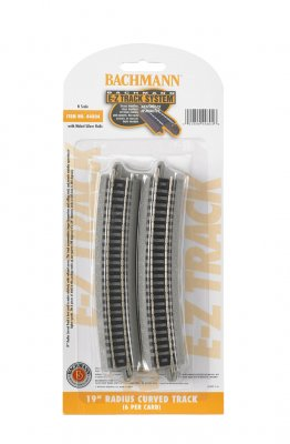 "Bachmann 44804 E-Z Track System N Scale 19"" Radius Curved (6 per pack)"