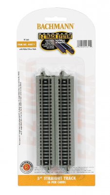 "Bachmann 44811 E-Z Track System N Scale 5"" Straight Track (6 per pack)"