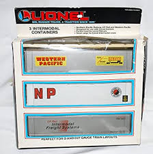 Lionel 6-12907 Set of 3 Intermodal Containers Western Pacific, NP, CP Rail