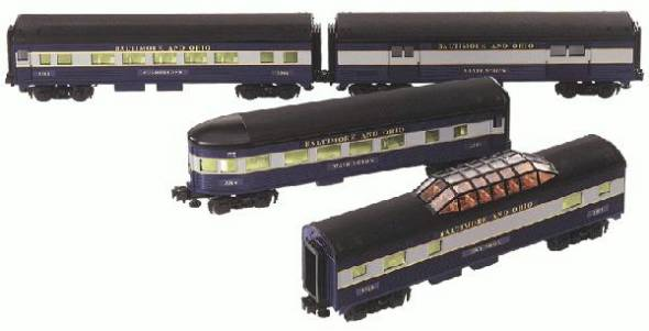 Lionel 6-29046 Baltimore & Ohio B&O Streamline Passenger Car 4-Pack