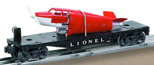 Lionel 6-29461 Lionel Lines O27 Flat car w/red and white Airplane #6500 Post War Remake