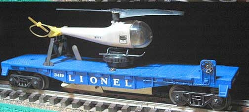 Lionel 6-29847 Helicopter Launch Car #3419 with Navy Helicopter