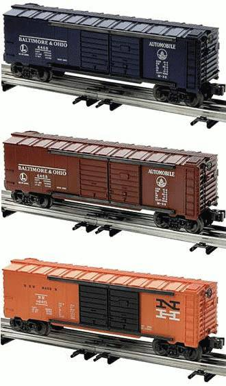 Lionel 6-39227 Double Door Automobile Boxcar 3 Pack Baltimore & Ohio B&O and New Haven