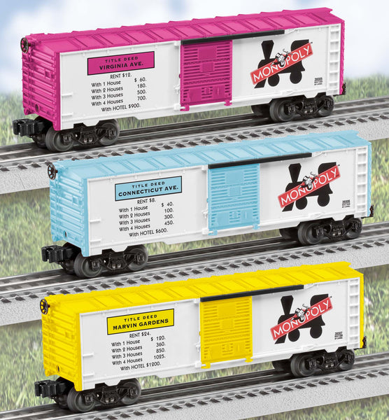 Lionel 6-39298 Monopoly Boxcar 3 pack Virginia, Connecticut and Marvin Gardens