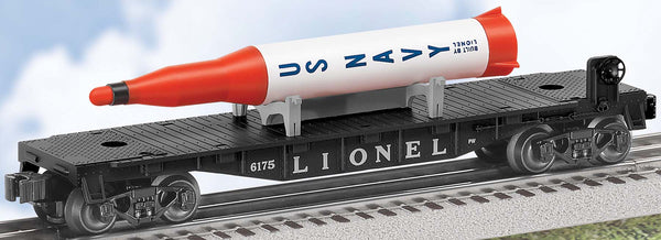 Lionel 6-39457 Lionel Lines U.S. Navy Black Flatcar w/ Rocket #6175 Postwar Celebration Series
