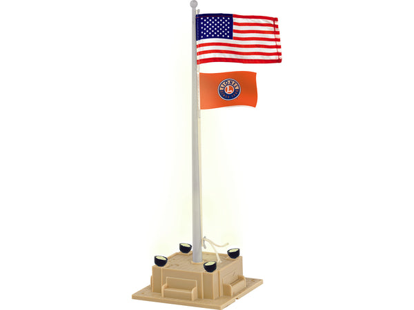 Lionel 6-84307 Lionel Illuminated Flag with United States and Lionel Flags Plug and Play