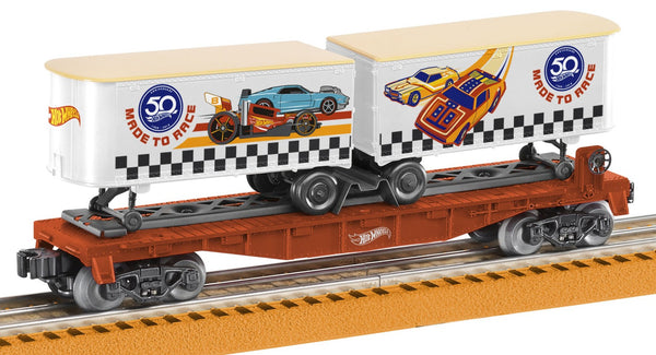 Lionel 6-84707 Hot Wheels 50th Anniversary Flatcar with Piggyback Trailers
