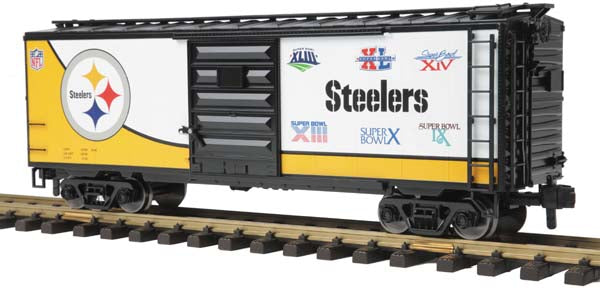MTH 70-74077 Pittsburgh Steelers 40' Box Car - (All Super Bowl Wins) One Gauge