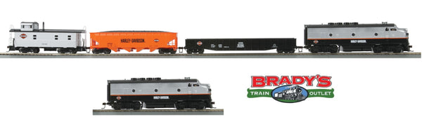 MTH 81-4003-1 Harley Davidson HO Scale MTH F-3 Diesel R-T-R Deluxe Freight Train Set w/Proto-Sound 3.0 with 81-2003-3 Non Powered B Unit